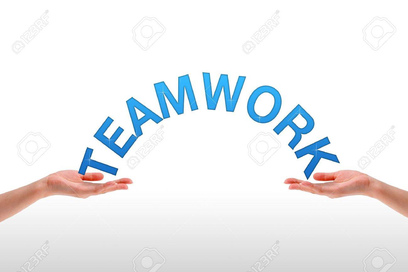 High resolution graphic of hands holding the word teamwork. Stock Photo - 9616683