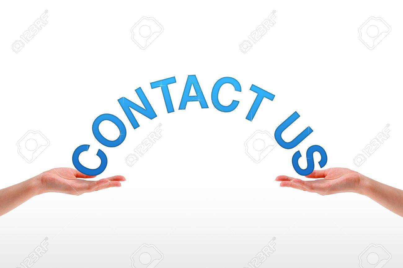 High resolution graphic of hands holding the word contact us. Stock Photo - 9616674