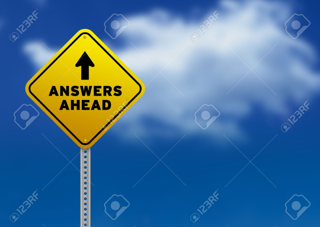 High resolution graphic of a yellow Answers Ahead Road Sign on Cloud Background. Stock Photo - 9750052