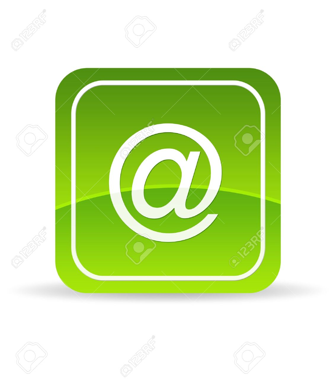 High resolution green email icon on white background. Stock Photo - 9750115