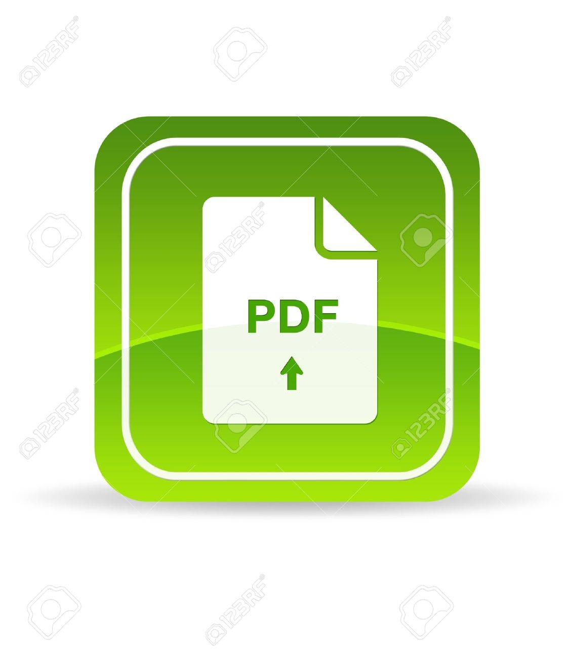 High resolution green pdf icon on white background. - 9750062