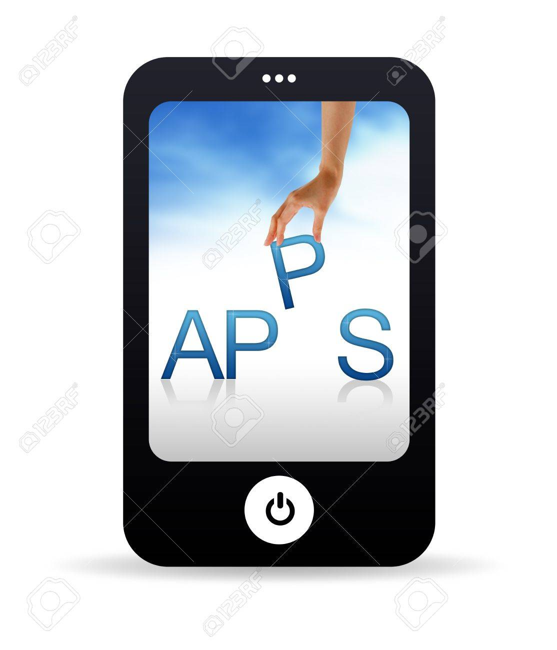 High resolution Mobile phone graphic with the word Apps Stock Photo - 9750137