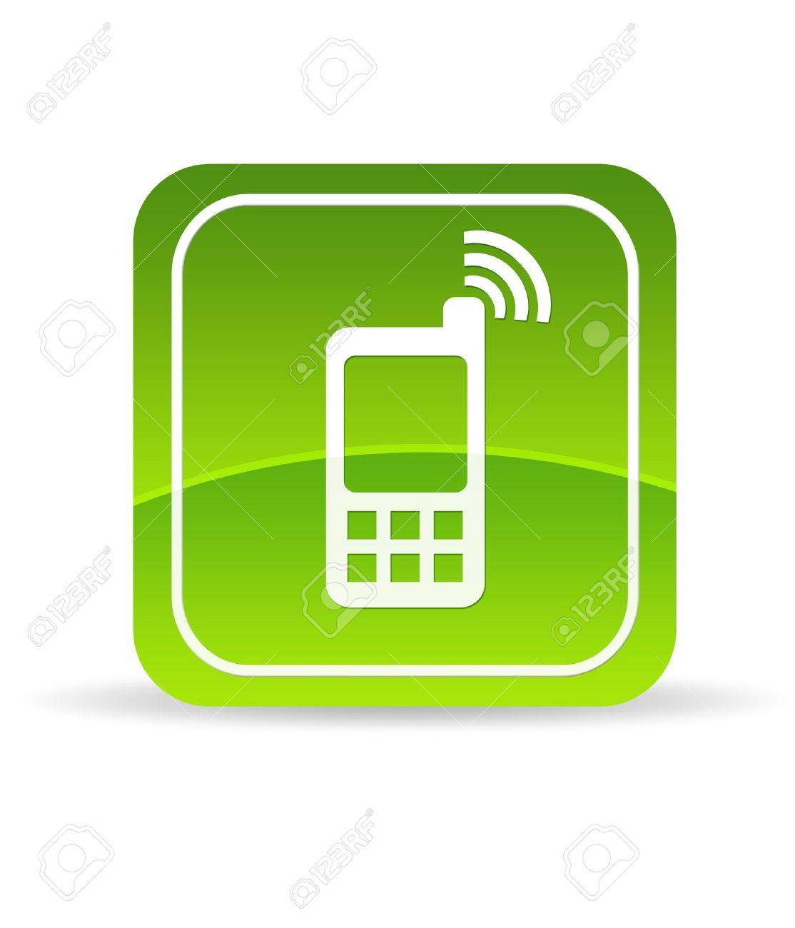 High resolution green mobile phone icon on white background. Stock Photo - 9750152