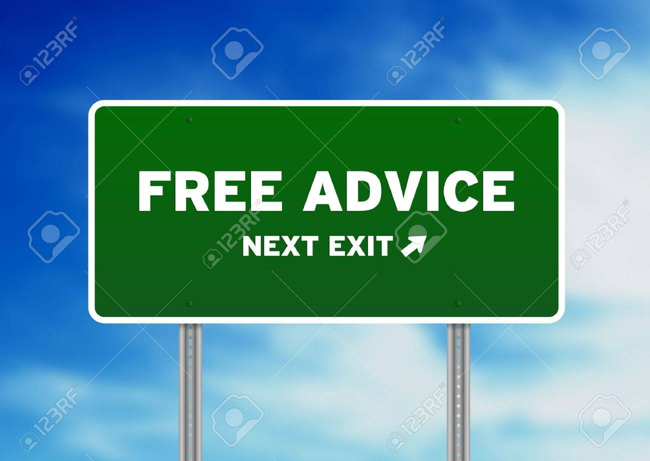 High resolution graphic of a Free Advice Highway Sign on Cloud Background. Stock Photo - 9836403