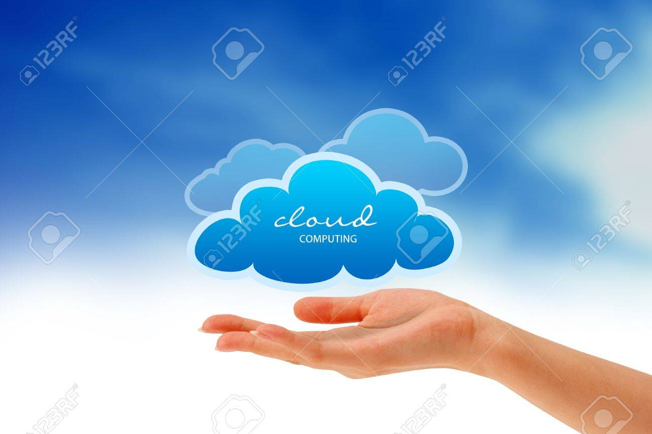 High resolution graphic of a hand holding 3 clouds. Stock Photo - 9836393