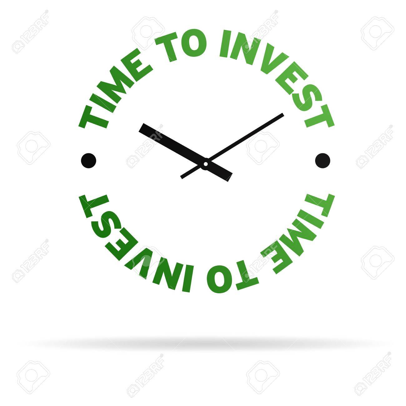 High resolution clock with the words time to invest on white background. Stock Photo - 9922699