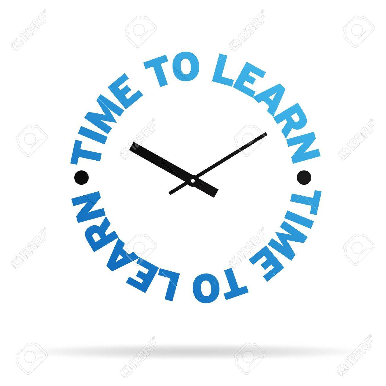 High resolution clock with the words time to learn on white background. Stock Photo - 9922703