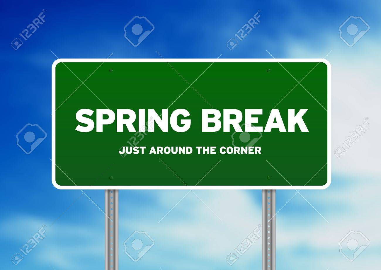 Green Spring Break highway sign on Cloud Background. Stock Photo - 9922685
