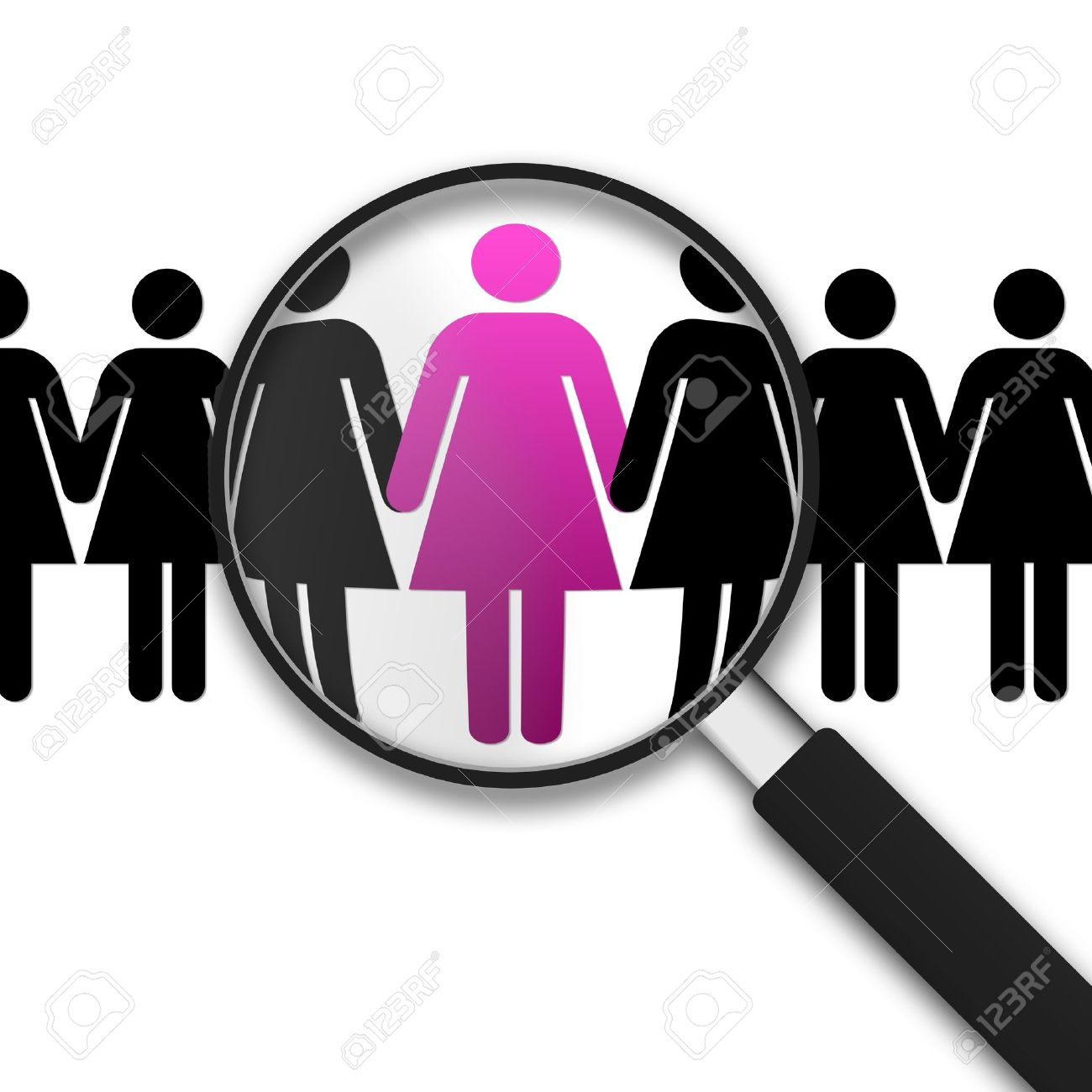 Magnifying Glass with Clipart Women on white background Stock Photo - 9998880
