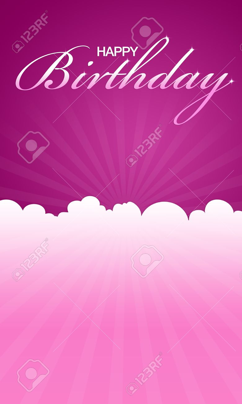 High Resolution Pink Happy Birthday Card Ready To Print Stock Photo