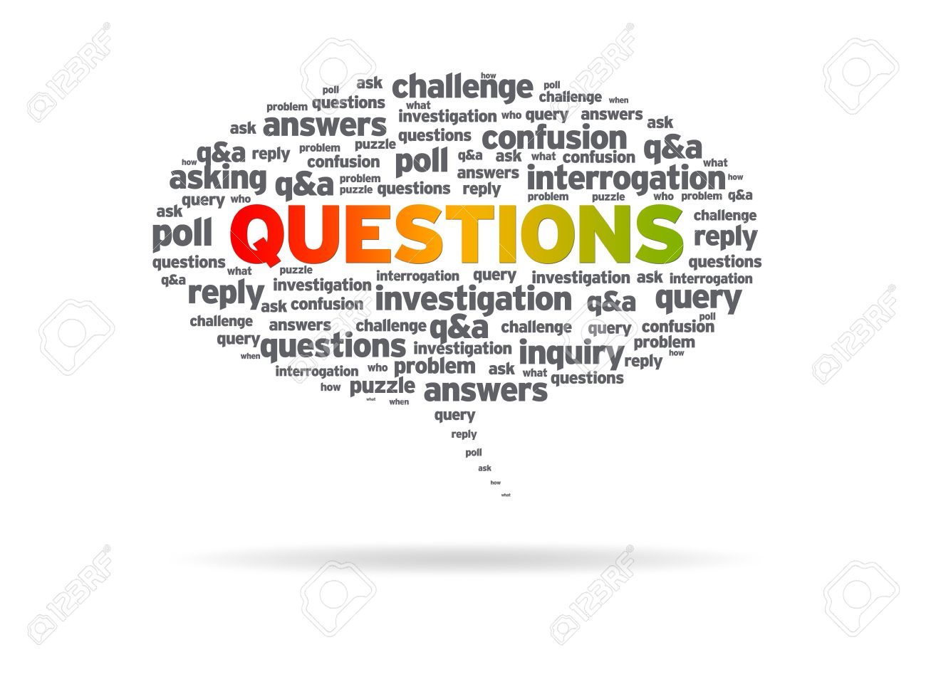 speech bubble the word questions on white background stock speech bubble the word questions on white background stock photo 10121035