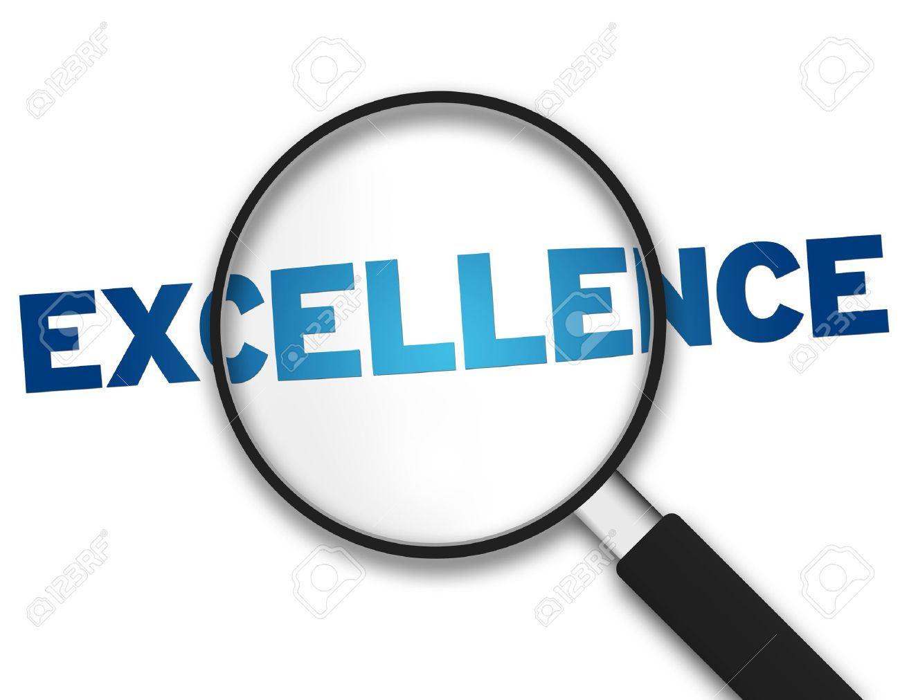 Magnifying Glass with the word Excellence on white background. Stock Photo - 10227386