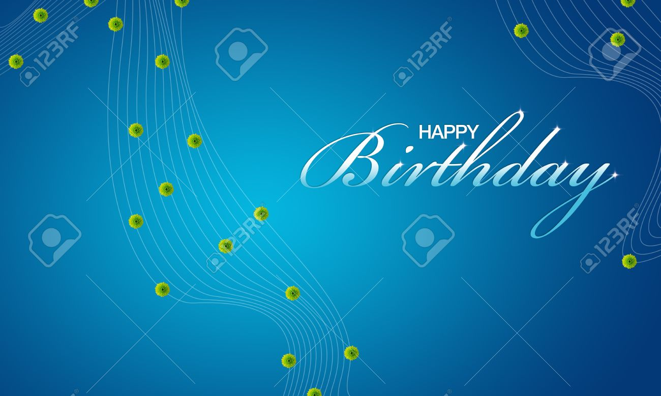 High Resolution Blue Happy Birthday Card With Green Flowers – Blue Birthday Cards
