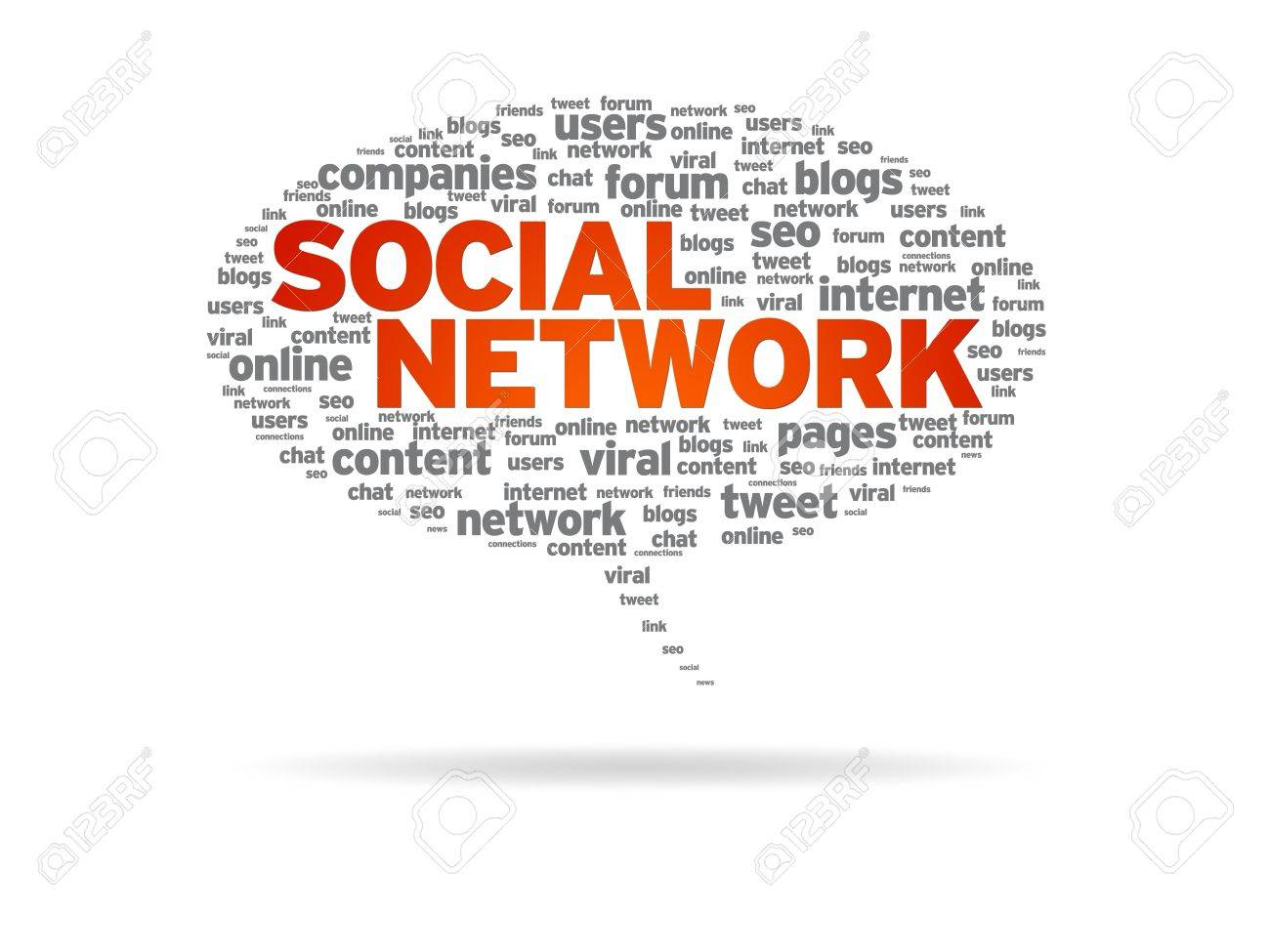 Speech bubble with the word Social Network on white background. Stock Photo - 10227433
