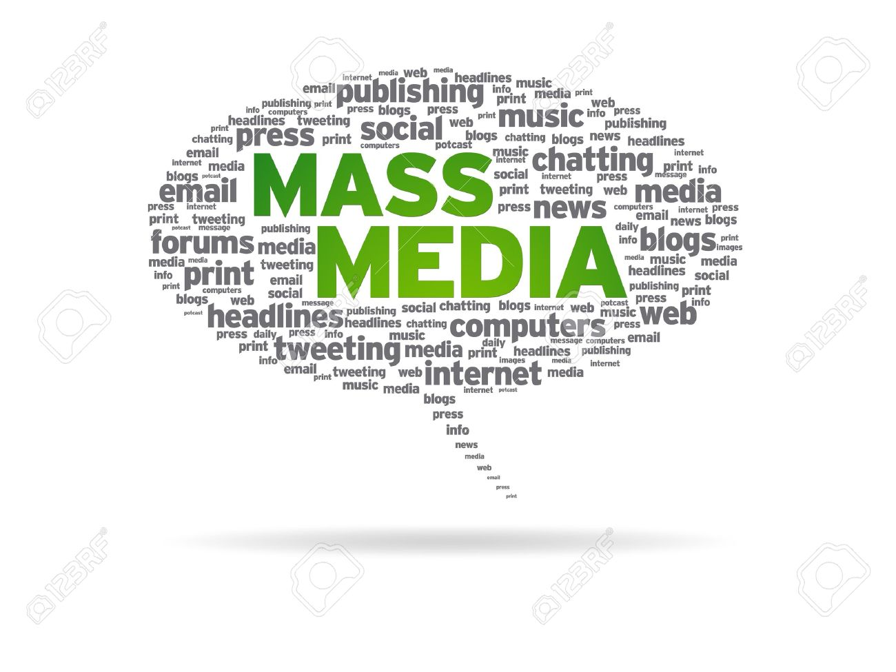 Speech bubble with the words mass media on white background. Stock Photo - 10268987