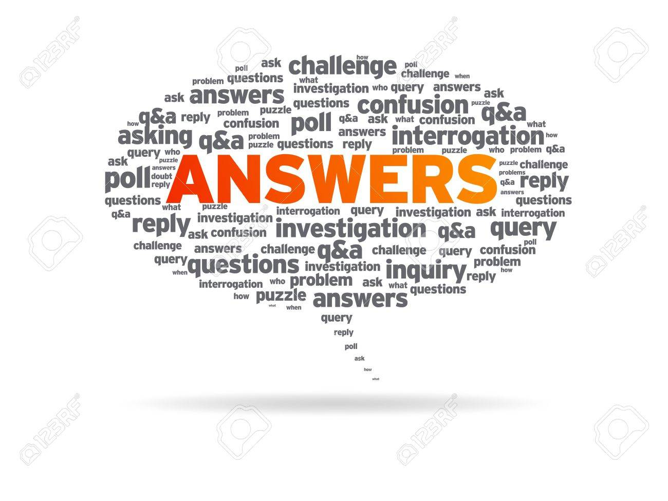 Speech bubble with the word answers on white background. Stock Photo - 10301716