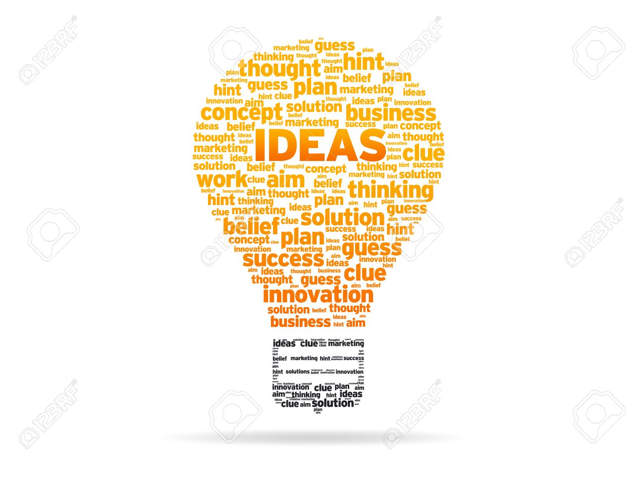 Abstract Light Bulb with the word Ideas on white background. Stock Photo - 10406302
