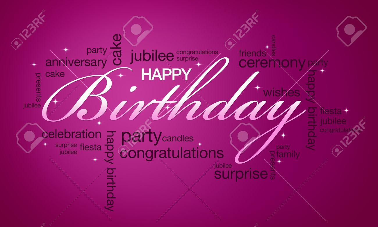 De Alta Resolución De Color Rosa Tarjeta De Feliz Cumpleaños Lista ...