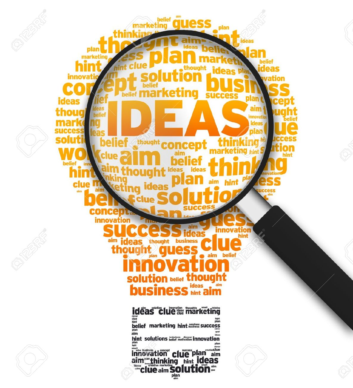 Magnified Illustration With A Light Bulb And The Word Ideas On White  Background. Stock Illustration
