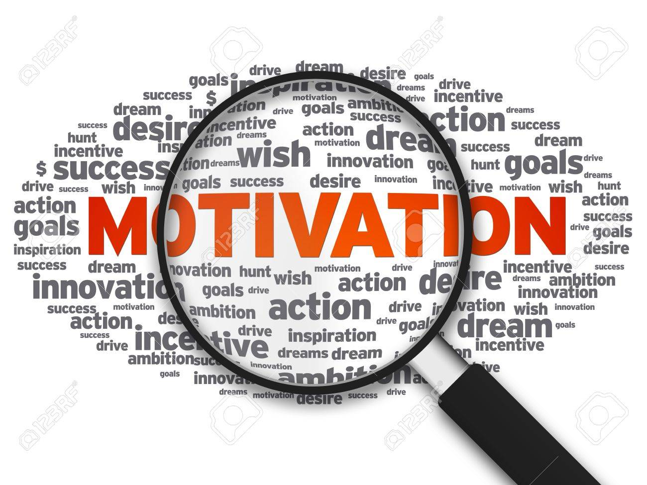 Magnified illustration with the word Motivation on white background. Stock Photo - 10509204