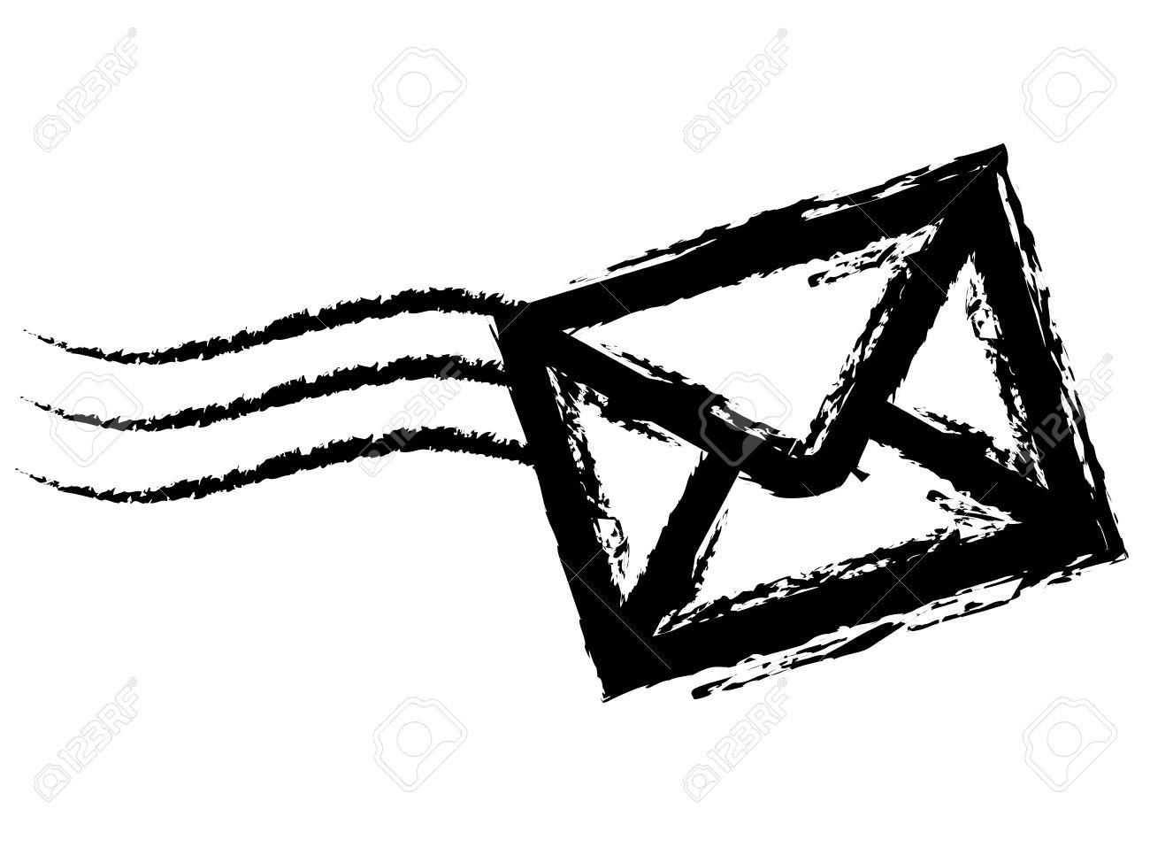 Dessin D Enveloppe dessin à la craie d'une enveloppe sur fond blanc. clip art libres de