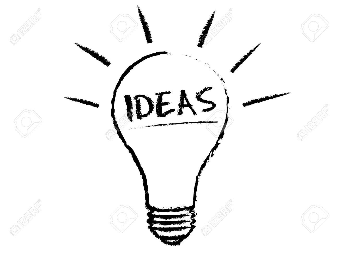 Idea Light Bulb Chalk Illustration On White Background. Stock Vector    10683613