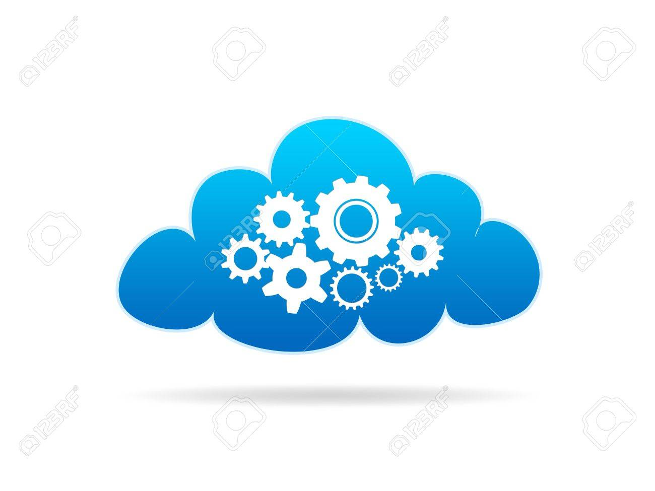 A Cloud with mechanical gears on white background Stock Photo - 10849576