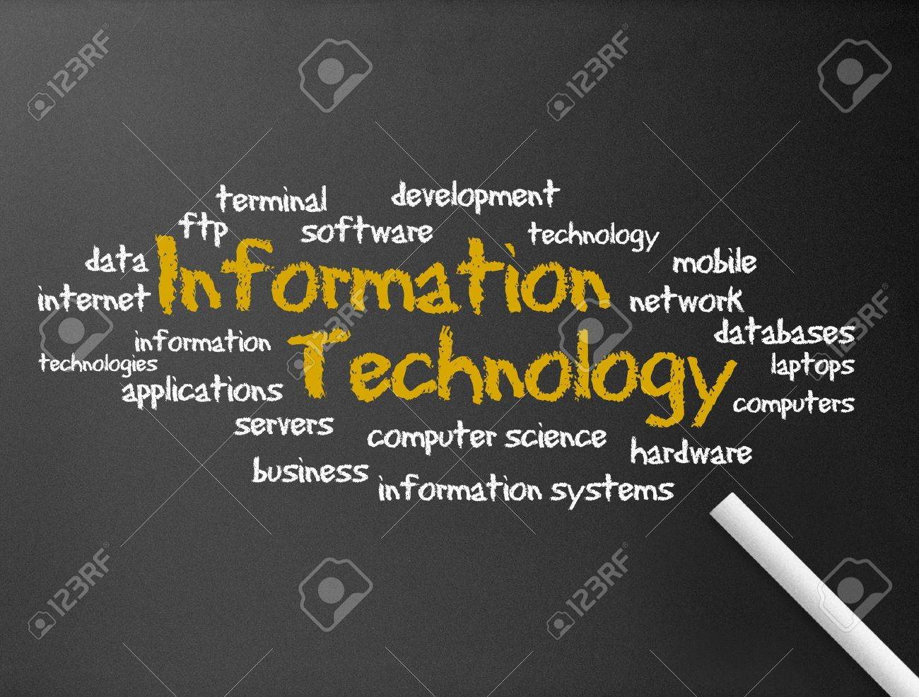 Dark chalkboard with a Information Technology illustration. Stock Illustration - 11983634