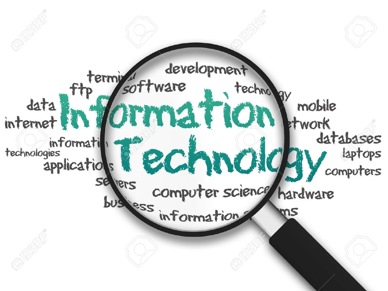 Magnifying Glass with information technology illustration on white background Stock Photo - 11983586
