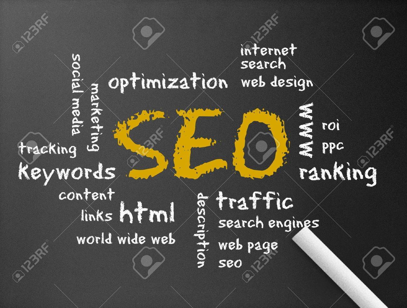 Dark chalkboard with the word Search Engine Optimization illustration. Stock Illustration - 12011397