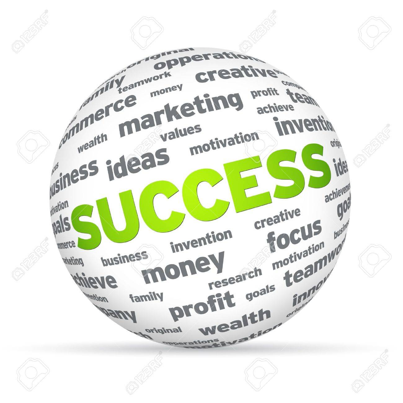 Sphere with success words on white background. Stock Photo - 12253133