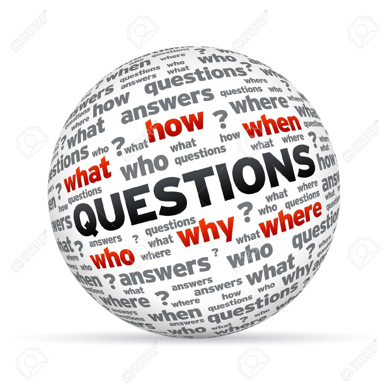 3D Questions sphere isoldated on white background. Stock Photo - 12253107