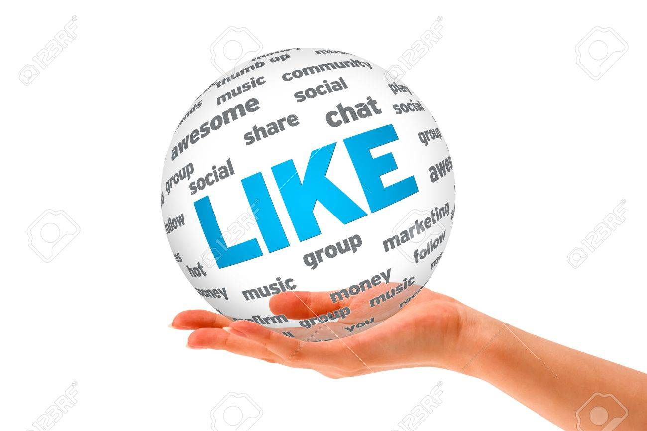 Hand holding a Like 3D Sphere sign on white background. Stock Photo - 12413568