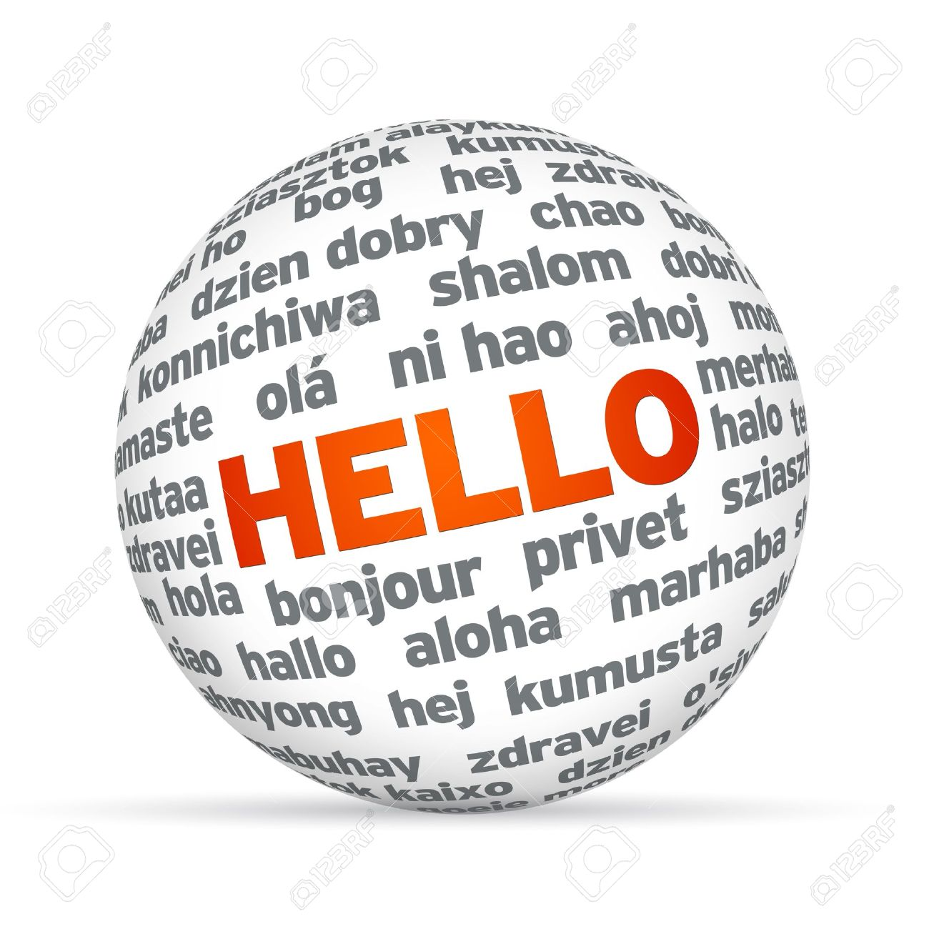 3d Sphere With Hello In Different Languages. Stock Photo, Picture ...