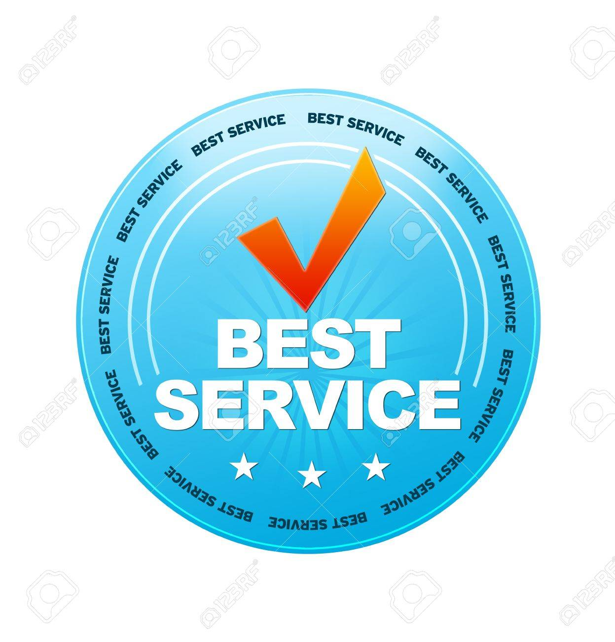 Blue Best Service icon on white background Stock Photo - 12721414