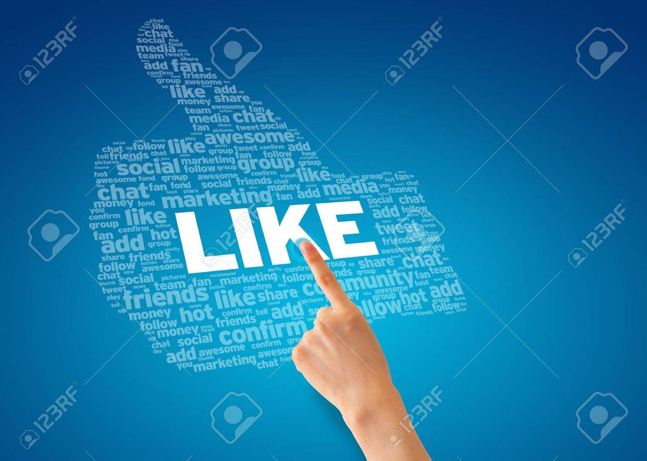 Hand pointing at a Like Thumb on blue background. Stock Photo - 12721430
