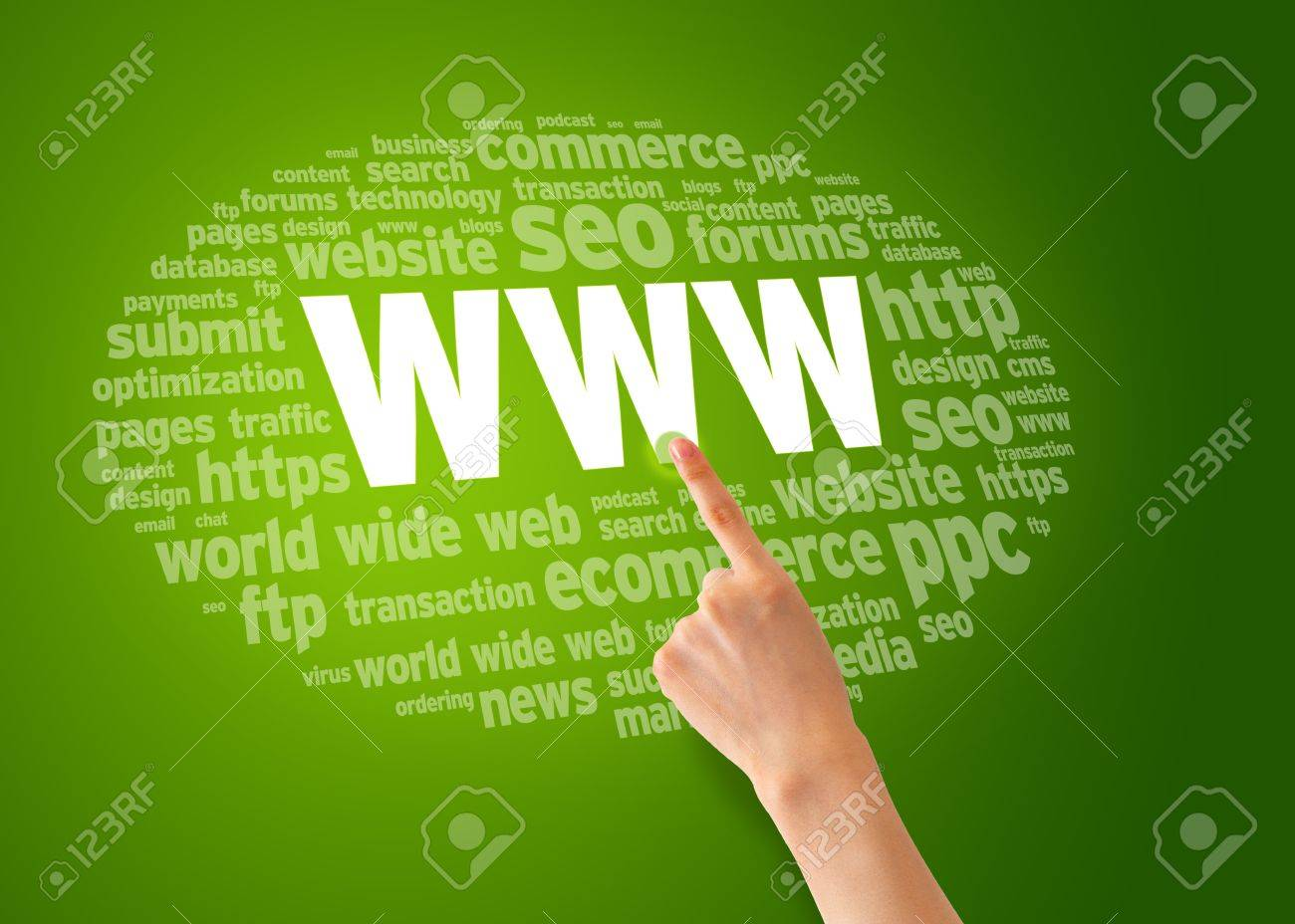 Finger pointing of a World Wide Web word cloud. Stock Photo - 12721439