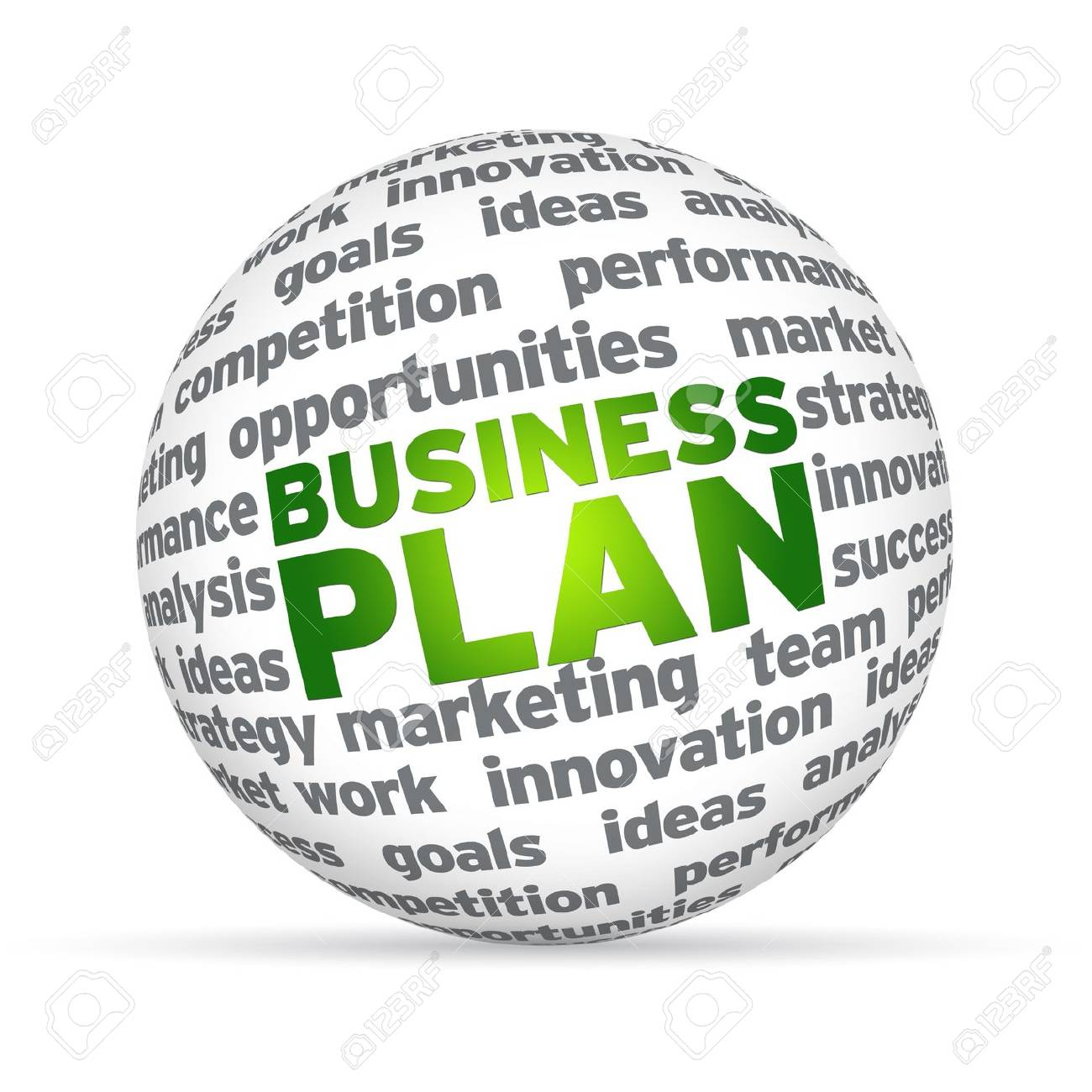 3D sphere with the word business plan on white background. Stock Photo - 12721421