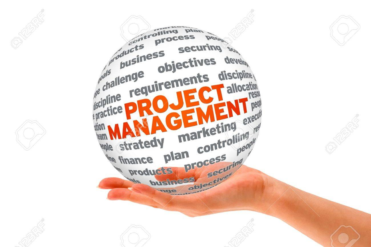Hand holding a Project Management 3d Sphere. Stock Photo - 12850545