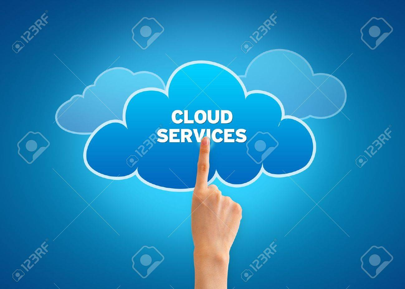 Hand pointing at a Cloud Services Cloud. Stock Photo - 12850867