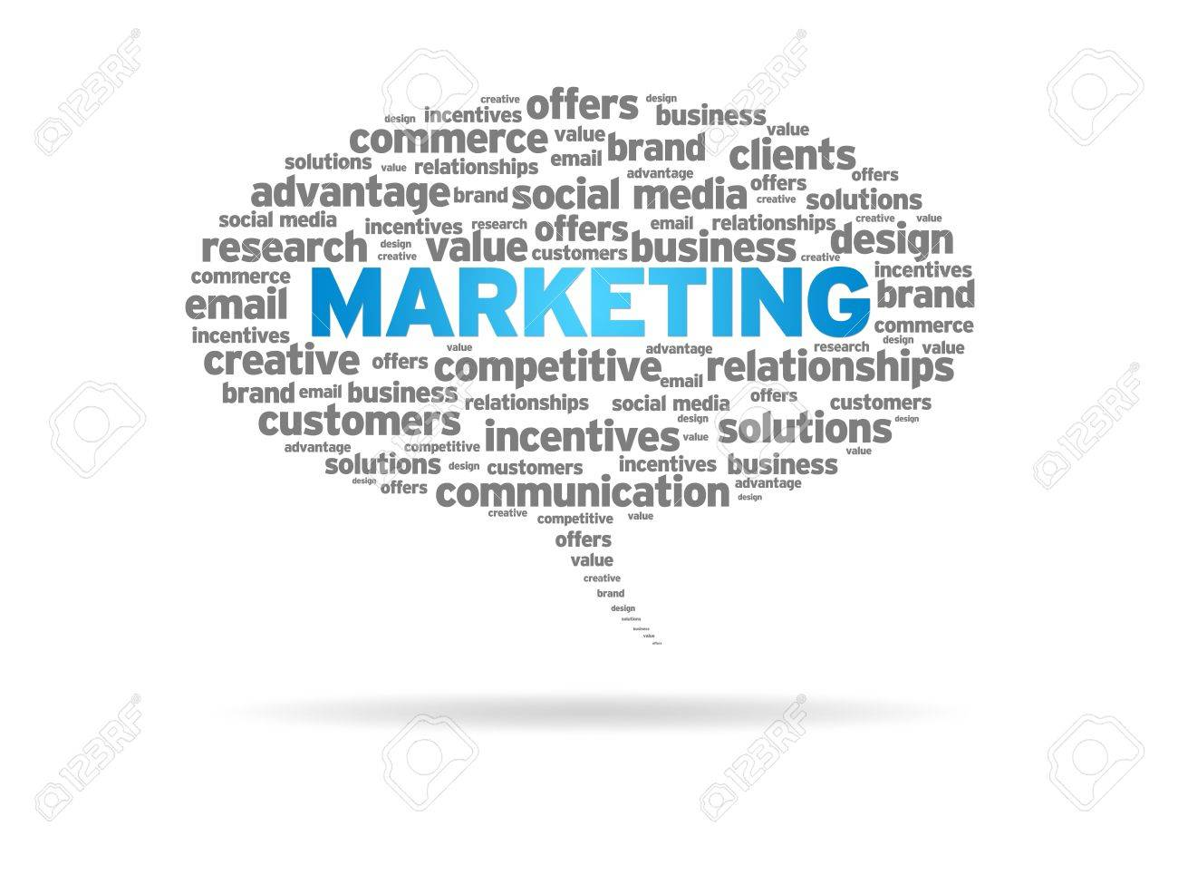 Speech bubble with the word marketing on white background. Stock Photo - 13583494