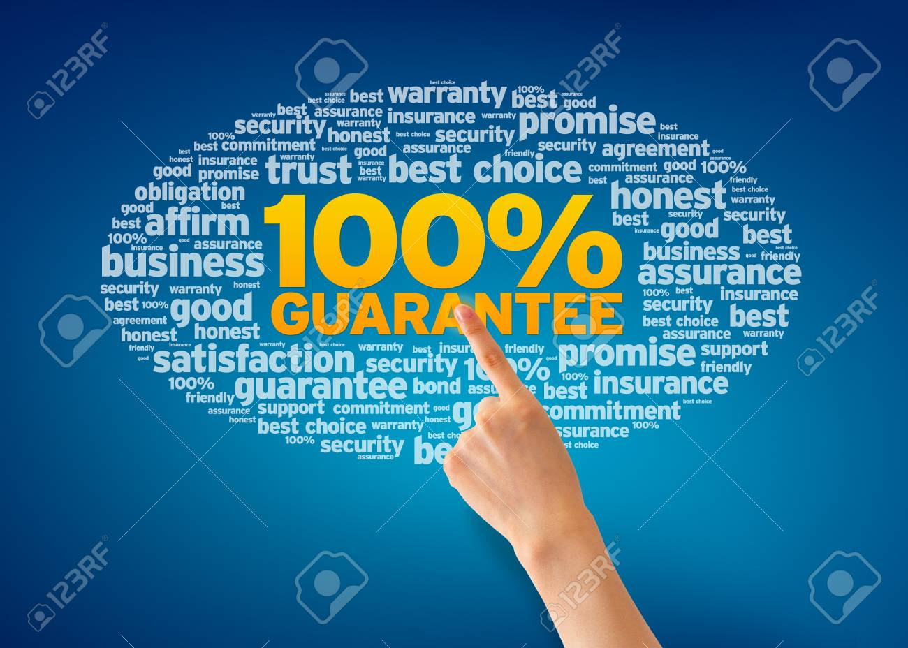 Hand pointing at a Gurantee Word Cloud on blue background. Stock Photo - 13583523