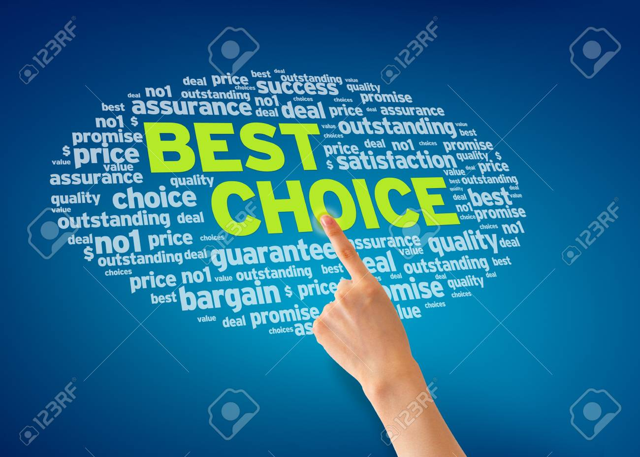 Hand pointing at a Best Service word cloud on blue background. Stock Photo - 13583473