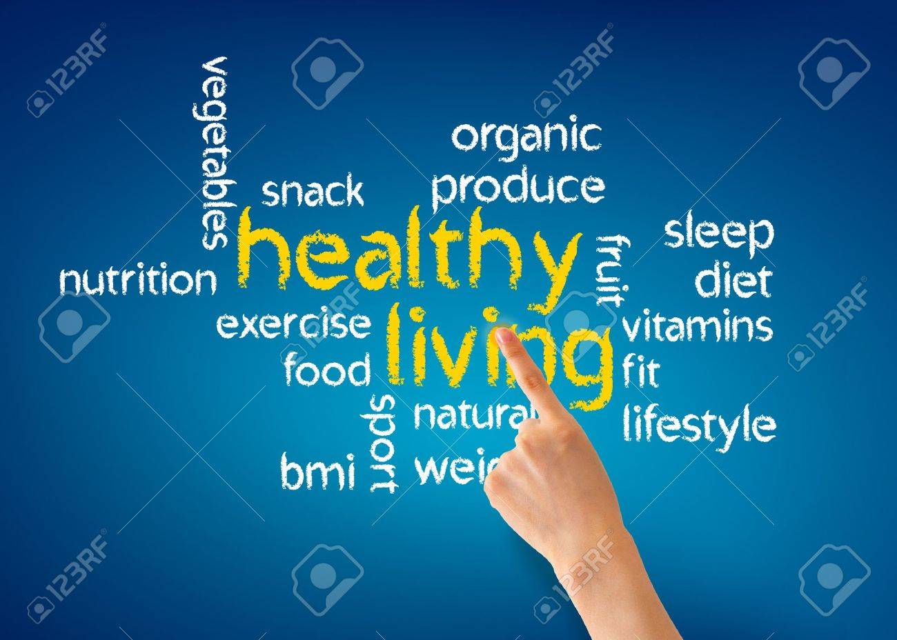 Hand pointing at a Healthy Living illustration on blue background. Stock Photo - 13583668