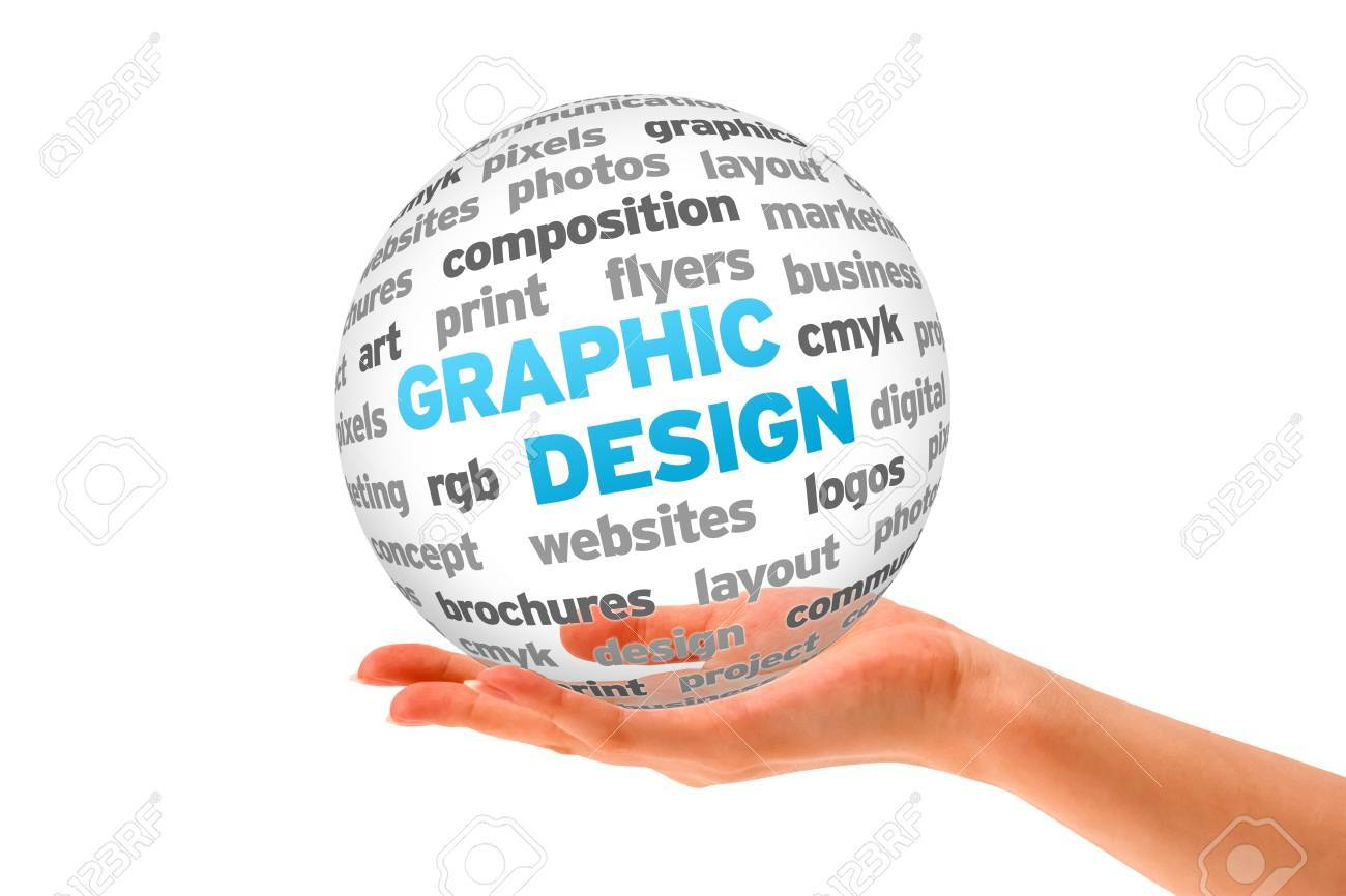 Hand Holding A 3d Graphic Design Sphere On White Background. Stock ...