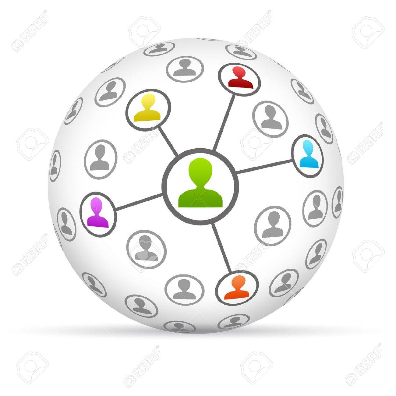 3d Social Network Sphere on white background. Stock Photo - 13779205