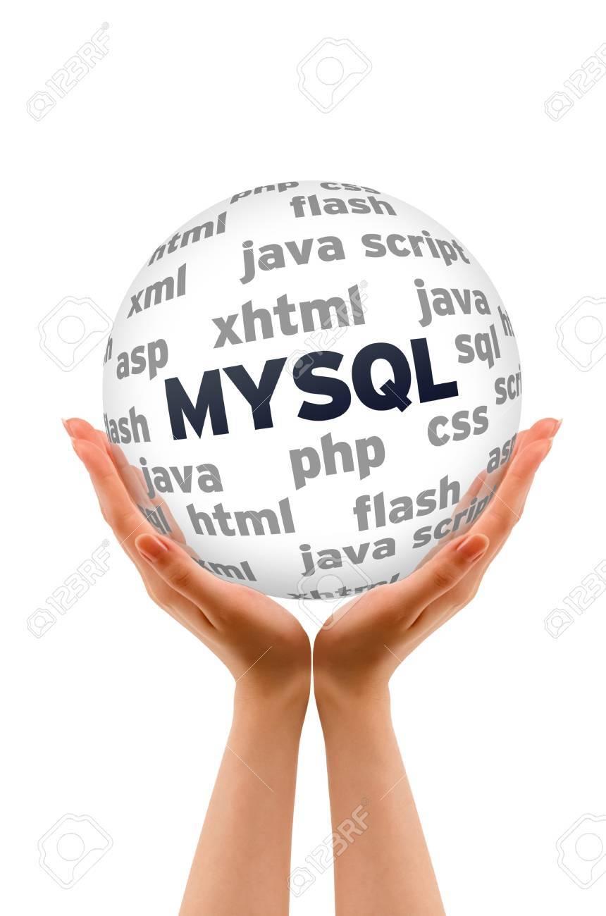 Background image xhtml - Hands Holding A Mysql Database Word Sphere On White Background Stock Photo 13993689