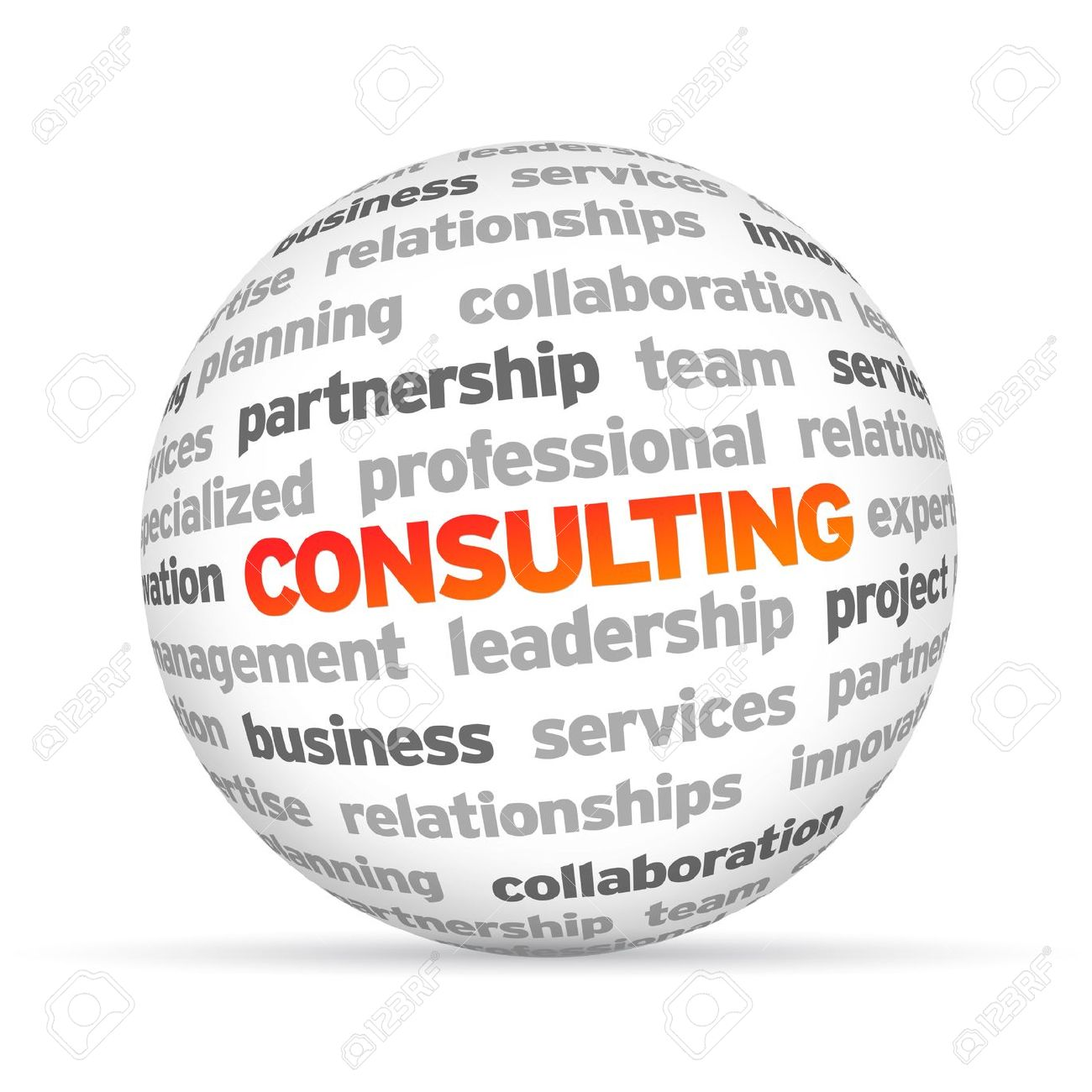3d Consulting Word Sphere on white background Stock Photo - 14037769