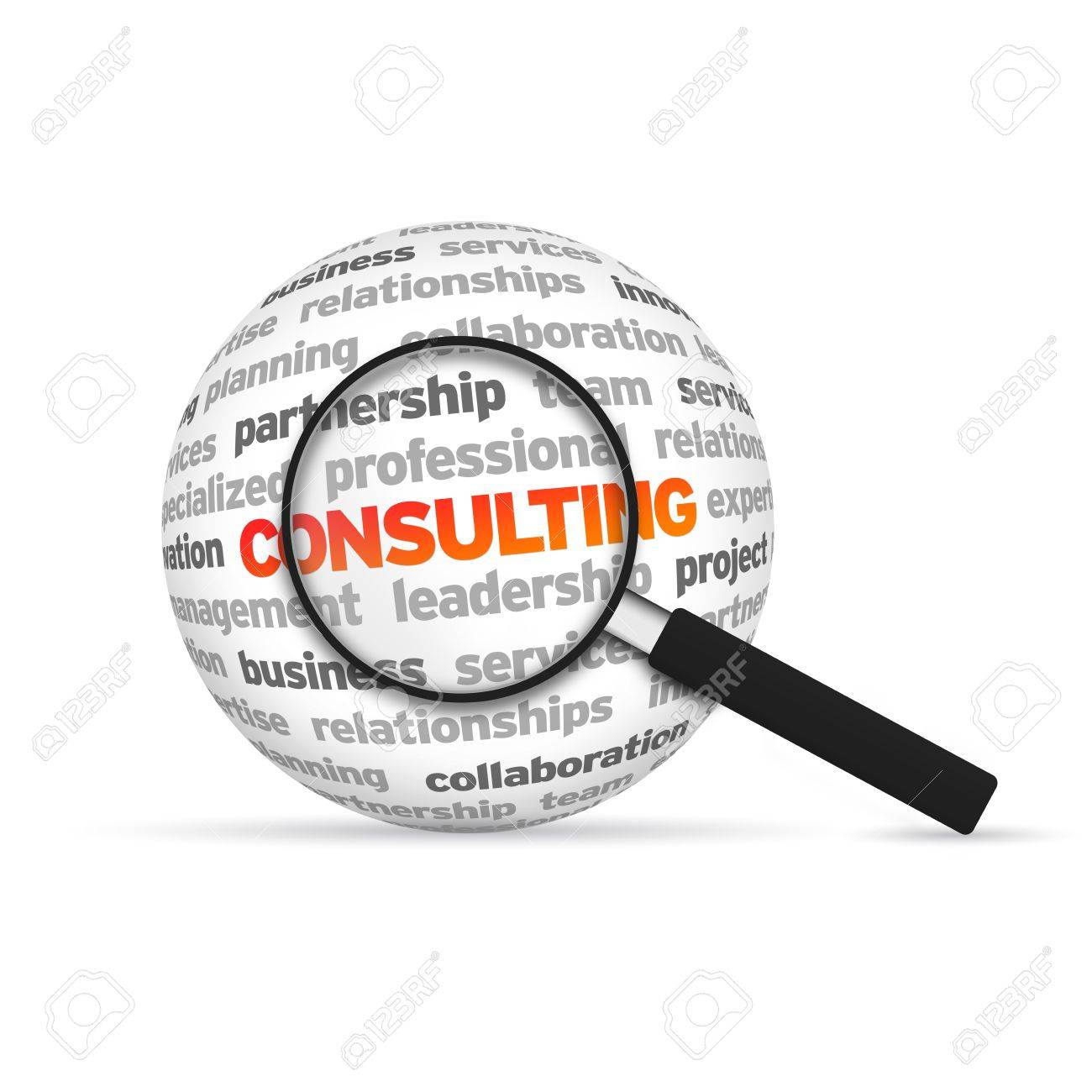 Consulting 3d Word Sphere with magnifying glass on white background Stock Photo - 14037801