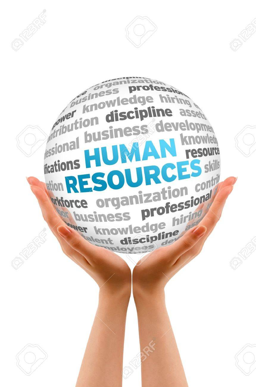 Hands holding a Human Resources Word  Sphere on white background. Stock Photo - 14037720